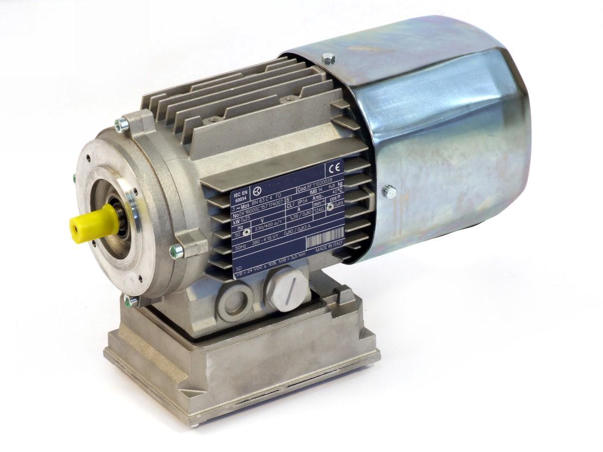 3-PH. MOTOR C.C. BRAKE 63 B14 P4 KW0,25 V230/400EU - D302 - THREE ...